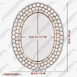 Gold Large Oval Wall Mirror 36x28, Gold Wood Framed Wall Oval Mirror from Peru