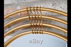 Gold Metal Frame Round Wall Mirror 91 cm Diameter