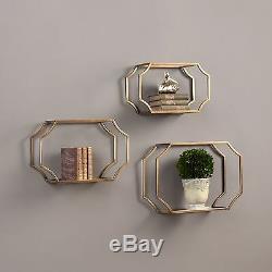 Gold Metal Glass Wall Shelf Set 3 Hanging Shelves Frames Contemporary Sculpted