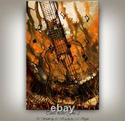 Gold Modern Guitar Painting Music Wall Art Original Oil Artwork on Canvas Decor