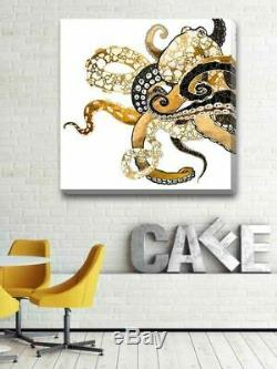 Gold Octopus Stretched Canvas Print Framed Kids Home Decor Wall Art Painting A82
