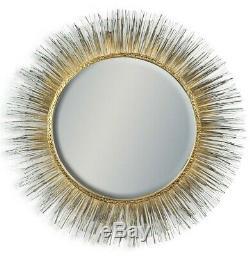 Gold Round Metal Spine Framed Boho Sunburst Wall Mirror 77 cm Diameter