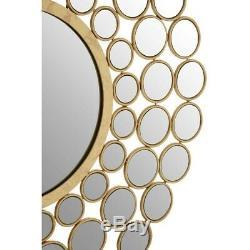 Gold Round Wall Mirror Faiza Solar Circles Metallic Art Deco Metal Hanging New