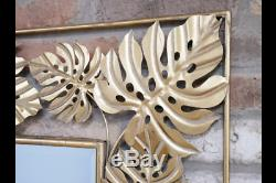 Gold Tropical Leaf Metal Frame Wall Mirror 130 x 80 cm NEW