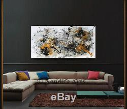 Gold Wall Art ABSTRACT PAINTING Large Home Decor Gold Yellow by Nandita
