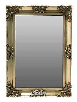 Gold Wall Mirror Bevelled Glass Wood Large Frame Hanging Rectangle Home Light