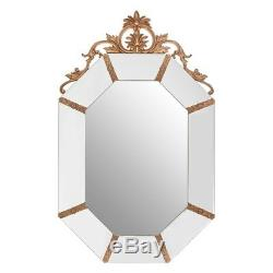 Gold and White Frame Octagonal Acanthus Leaf Wall Mirror