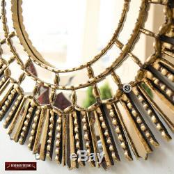 Gold leaf Wood Wall Round Mirror, Peruvian Decorative Sunburst Mirror wall decor
