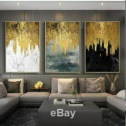 Golden Abstract Art 3 Pieces Canvas Printed Wall Picture Poster Home Decor