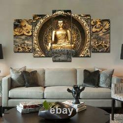 Golden Buddha Statue Framed 5 Piece Canvas Wall Art