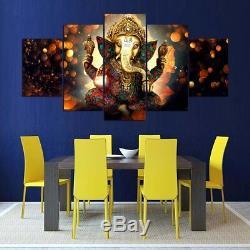 Golden God Ganesha Hindu Religious 5 pieces Canvas Wall Poster Home Decor