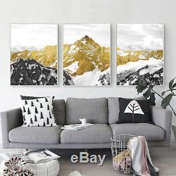 Golden Snow Mountain Nordic 3 pcs HD Art Poster Wall Home Decor Canvas Print