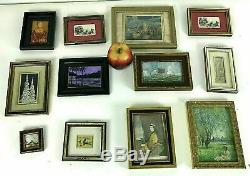 Group of 12 Miniature Painting Artwork Gold Frame Decorator Gallery Wall