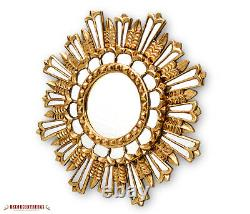 Hand Carved Mohena Wood Round Wall Mirror with Gold Leaf Peruvian Mirrors