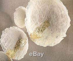 Handmade Paper Wall Art Gold Metallic Frame Mid-Century Modern Design 55.25 H
