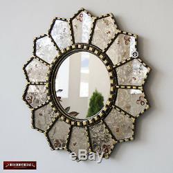 Handmade eglomise Round wall Mirror 23.6, Peruvian Gold Framed Round Mirror