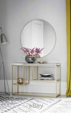 Hayle Large Round Modern Mirror Champagne Gold Metal Frame Sleek Wall