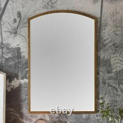 Higgins Arched Antique Gold Rustic Aged Metal Frame Wall Mirror H90cm x W60cm