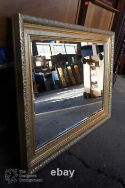 Hollywood Regency Rectangular Carved Wall Hanging Mirror Beveled Frame Gold 43