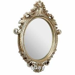 Home Champagne Garlanded Frame Oval Wall Hanging Mirror