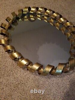 Huge BASSETT Fiesta Wall Mirror M3491 Gold Metal Spiral Frame 42x34 MSRP $479