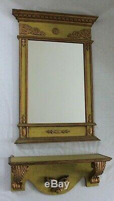 ITALIAN Vintage Antique Neoclassical Wood Framed Wall Mirror /Shelf Green/ Gold