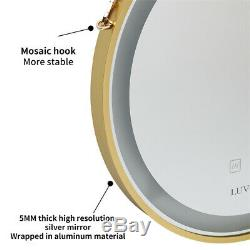 Industrial Round Bathroom Mirror Gold Frame LED Lighted Mirror Wall Hang 50x50cm