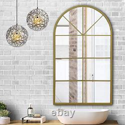 Ironsmithn Wall Mirror Mounted Decorative Long Hanging Arched Window Frame Decor
