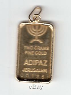 Israel Jerusalem Western Wall MEDAL ADILLION PENDANT 2g GOLD withGOLD FRAME