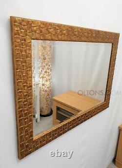 John Lewis Antique Gold Mosaic Wall Mirror Solid Wood Frame Bevelled 132x76cm