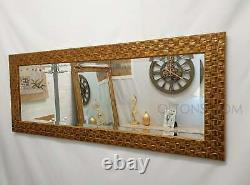 John Lewis Full Length Mosaic Wall Mirror Bevelled Glass Antique Gold 132x46cm