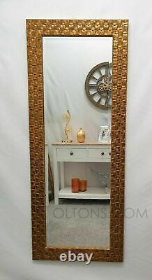 John Lewis Full Length Wall Mirror Bevelled Antique Gold Mosaic Frame132x53cm