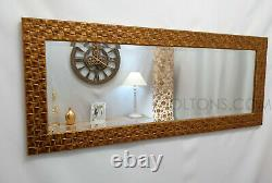 John Lewis Full Length Wall Mirror Bevelled Antique Gold Mosaic Wood 132x53cm