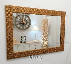 John Lewis Gold Mosaic Wall Mirror Solid Wood Frame Bevelled 66x92cm (26x36)