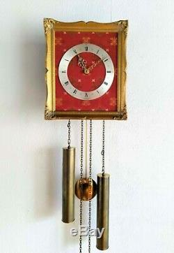 Junghans Wall Clock German Rare Gilded Picture Frame Weight Driven