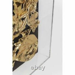 Kare Design Textured Gold Leaf Framed on Glass Flower 3D Wall Art, 120 x 120 cm
