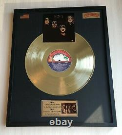 Kiss Kiss 1974 Custom 24k Gold Vinyl Record In Wall Hanging Frame