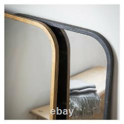 Kurva Gold Curved Rustic Aged Metal Frame Leaner Wall Floor Mirror 119.5 x 56cm