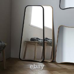Kurva Large Black Curved Rustic Aged Metal Frame Leaner Wall Floor Mirror 48x22