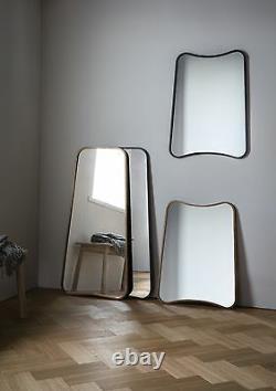 Kurva Large Curved Rustic Black Metal Frame Leaner Wall Floor Mirror 119.5x56cm