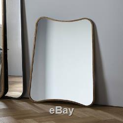 Kurva Large Gold Curved Rustic Aged Metal Frame Overmantle Wall Mirror 32x24