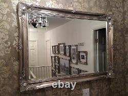 LARGE Antique Silver Elegant Wall Mirror FREE UK POSTAGE Bevelled Mirror