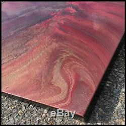 LARGE Canvas Wall Art Framed RED Gold Abstract Modern Painting USA Megan Willis