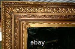 LARGE EDWARDIAN PERIOD GILT FRAMED Bevelled Glass Wall MIRROR 39 X 35 Inches
