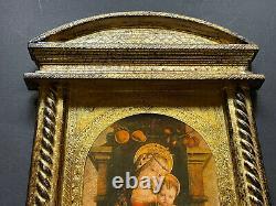 LARGE Vintage Italy GOLD Religious WALL Florentine Antique Print MADONNA JESUS