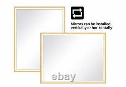 LED Bathroom Wall Mirror, Anti-Fog Wall-Mounted Gold Metal Frame Bath