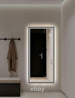 LED Light Up Vanity Bathroom Wall Mirror Anti-Fog Wall-Mounted Metal Frame
