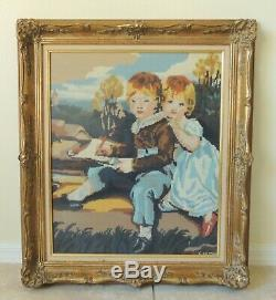 Large 31 Children Boy Girl Needlepoint Gold Gilt Wood Gesso Wall Picture Frame