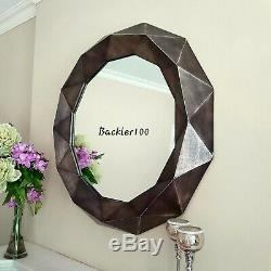 Large 84cm Geometric round WALL MIRROR bronze gold metallic finish