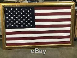 Large American Flag Wall Decor Picture Gold Wood Frame Under Glass (3ftx5ft)